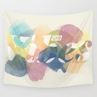good vibes Wall Tapestries featuring GOOD VIBES by Lasse Egholm