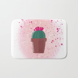 Hand drawn watercolor  cactus with flowers. Bath Mat