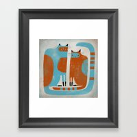 TWO CATS WAITNG Framed Art Print