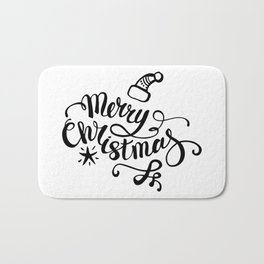 We wish you a merry christmas - typography quotes illustration Bath Mat