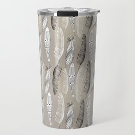 Beautiful graphic bird feathers black white Travel Mug