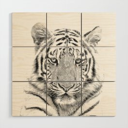Black and white tiger Wood Wall Art