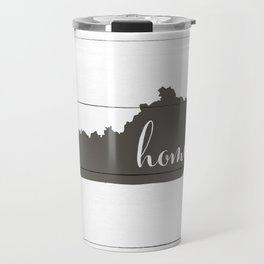 Kentucky is Home - Charcoal on White Wood Travel Mug