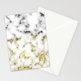 Black and white marble gold sparkle flakes Stationery Cards