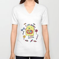 dentist V-neck T-shirts featuring I hate dentist by PINT GRAPHICS