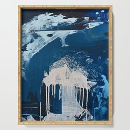 Solstice [3]: a minimal abstract mixed-media piece in blue and white by Alyssa Hamilton Art Serving Tray