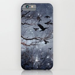 Woodland Crows And Bursting Stars iPhone Case