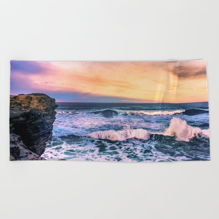 Sunset of the Bay of Biscay Beach Towel