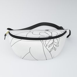 Minimal Line Art Nude Woman with Flowers Fanny Pack