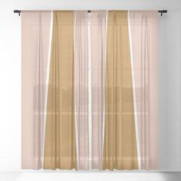 Retro Autumn Color Block Sheer Curtain