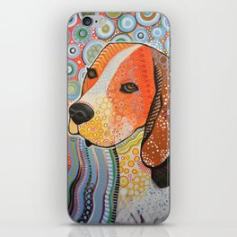 Rocky ... Abstract pet dog portrait art, Beagle iPhone Skin