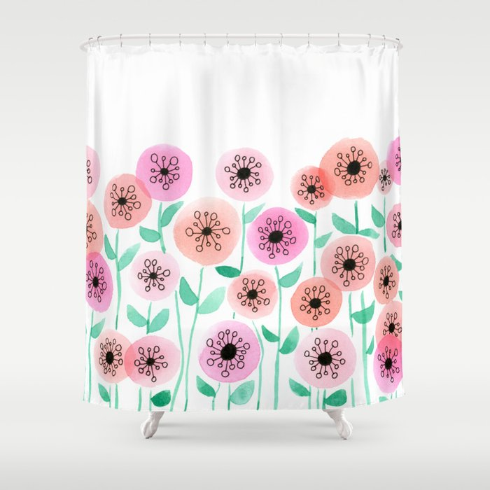 Pink and Peach Floral Watercolor Painting Shower Curtain