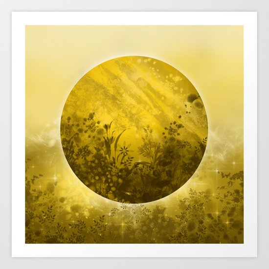 circle yellow landscape Art Print