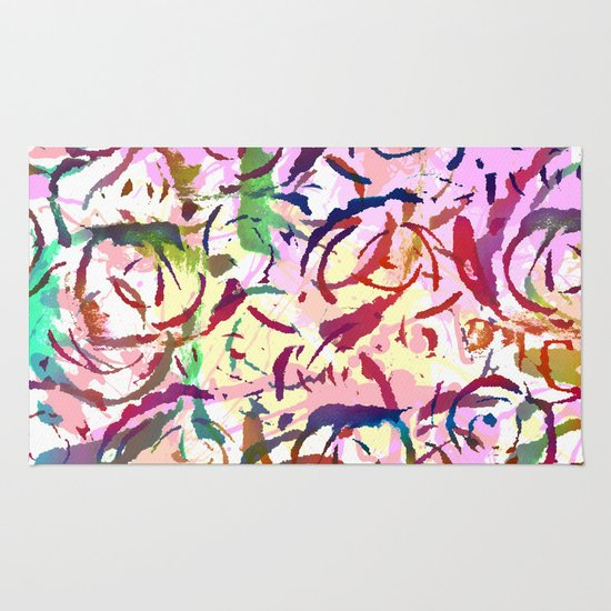 abstract roses silhouettes Rug