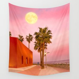 Super Moon At Sunset Wall Tapestry