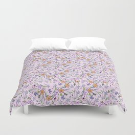 flowers and leaves on pink background . ( https://society6.com/simpledoodles/collection ) Duvet Cover