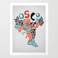 oslo Art Prints featuring Oslo boroughs by Grilldress