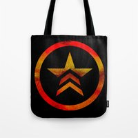 mass effect Tote Bags featuring Mass Effect Renegade by foreverwars