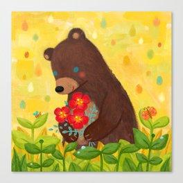 A shy bear Canvas Print