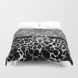 Animal Print Leopard Glam Silver and Black Diamond Duvet Cover