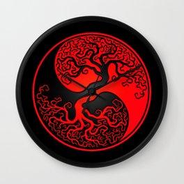 Red and Black Tree of Life Yin Yang Wall Clock