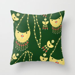 Traditional jewelery green Throw Pillow