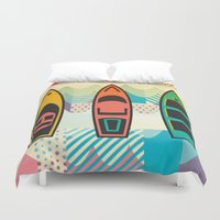 boats Duvet Covers featuring the boats by Julia Tomova