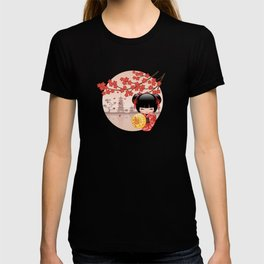 Japanese Red Sakura Kokeshi Doll T-shirt