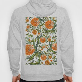 Orange Spring Summer Flowers Boho Hoody