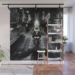 Poster with a biker on a motorcycle in the form of an angel looking into the distance of the urban v Wall Mural