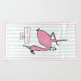 """It's party time"" Flamingo Beach Towel"