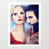 captain swan Art Prints featuring Captain Swan by Faerytale-Wings