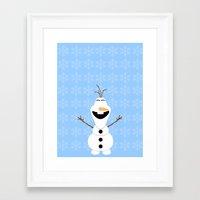 olaf Framed Art Prints featuring Olaf by Aya Ghoneim