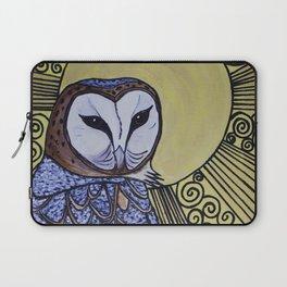 Barn Owl Art Nouveau Panel in yellow Laptop Sleeve
