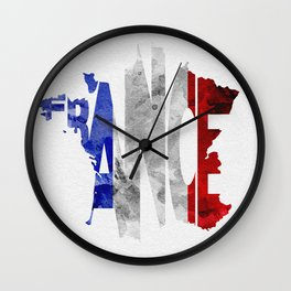 France Typographic World Map / France Typography Flag Map Art Wall Clock