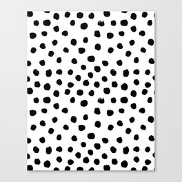 Preppy black and white dots minimal abstract brushstrokes painting illustration pattern print  Canvas Print
