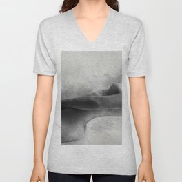Time for Myself. Nude woman pencil and watercolor portrait Unisex V-Neck