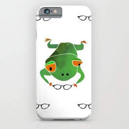 Green frog and her glasses. Kids print iPhone Case