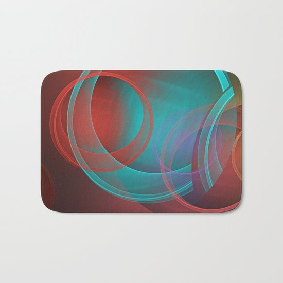 Abstract with translucent geometric shapes Bath Mat