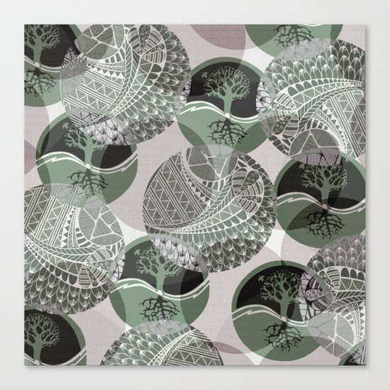Zentangle and Tree Motifs in Circles Canvas Print