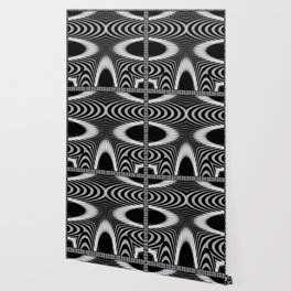 Geometric Black and White Skeleton African-Inspired Pattern Wallpaper