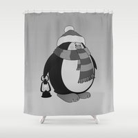 penguin Shower Curtains featuring Penguin by mangulica