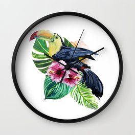 set watercolor print of exotic leaves and pink flowers with bird toucan Wall Clock