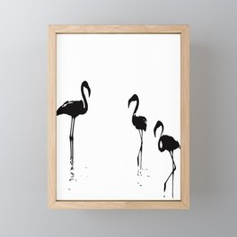 We Are The Three Flamingos Silhouette In Black Framed Mini Art Print