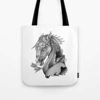 knight Tote Bags featuring The King's Lost Knight by Caitlin Hackett