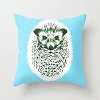 hedgehog Throw Pillows featuring hedgehog by barmalisiRTB