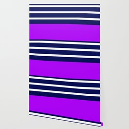 Summer Patio Perfect, Purple, White & Navy Wallpaper