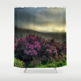 Pink Flowers with Fog Shower Curtain