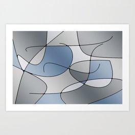 ABSTRACT CURVES #1 (Grays) Art Print