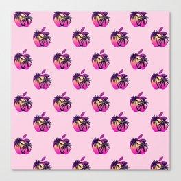 Apple retrowave logo pattern Canvas Print
